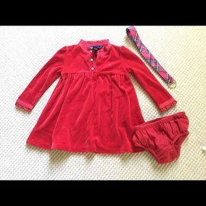 Ralph Lauren Red Velvet Dress with Bloomers